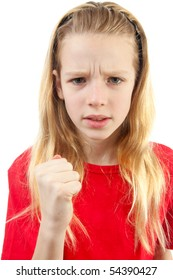 Angry girl in closeup making fist over white background