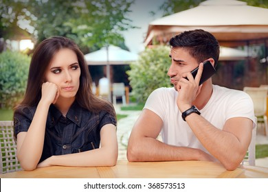 Angry Girl Listening to Her Boyfriend Talking on The Phone - Unhappy girlfriend spying on her loved one eavesdropping private conversation