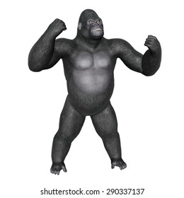 Angry gorilla fighting isolated in white background - 3D render