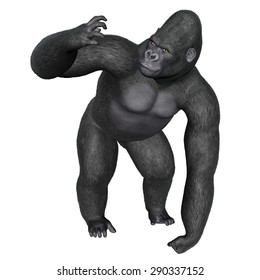 Angry gorilla isolated in white background - 3D render