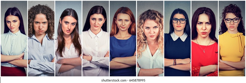 Angry grumpy group of pessimistic women with bad attitude looking at you
