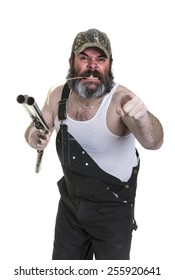 Angry hillbilly with shotgun on a white background.