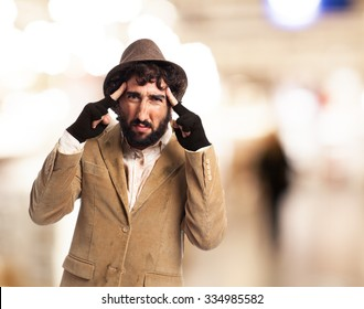 angry homeless man concentrated
