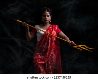 Angry Indian Godess Durga Conceptual Portrait