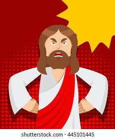 Angry Jesus. Christ is not satisfied. Angered by Gods son in rage. Biblical character in pop art style. Bubble for text
