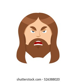 Angry Jesus Christ.. Unhappy with Son of God. Ferocious man