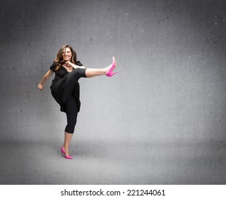 angry lady kicking with high heels empty space
