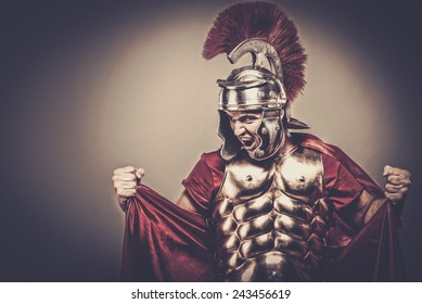 Angry legionary soldier in armour