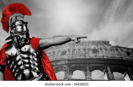 Angry legionary soldier in front of coliseum