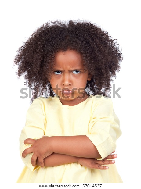 Angry little girl with beautiful hairstyle isolated over white