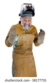 Angry looking man in welding protective clothing