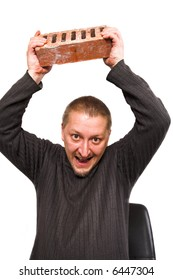 angry man with brick in his hands