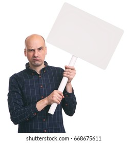 angry man holds a blank placard on a stick. Isolated on white background