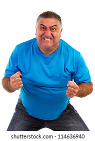 Angry man isolated on a white background