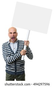 angry man screams and holds a blank placard on a stick.. Isolated on white background