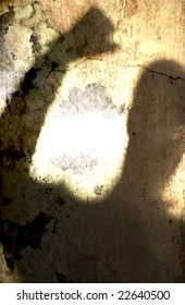 Angry man shadow grunge texture background illustration.