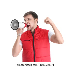 Angry man shouting into megaphone on white background