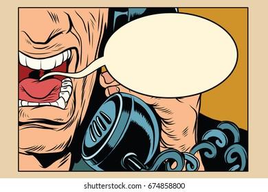 Angry man talking on the phone. comic cloud. Vintage pop art retro comic book  illustration