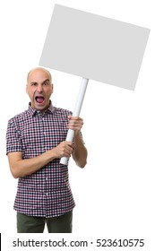angry man waving a blank card isolated on white background