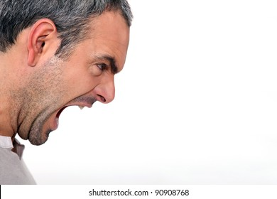 An angry man yelling