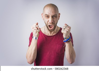 Angry man yelling and shouting in rage, crazy and mad