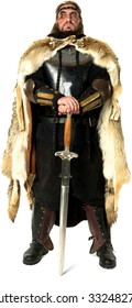 Angry Medieval Warrior with long medium brown hair  holding sword - Isolated