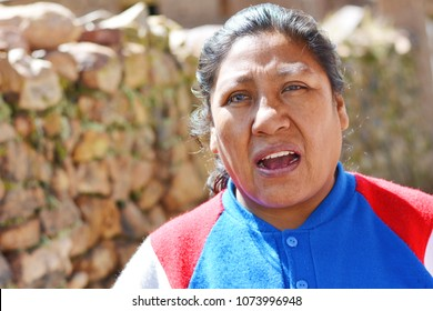 Angry native american woman in the countryside.