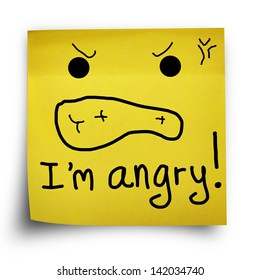 I am angry note on yellow sticker paper note isolated