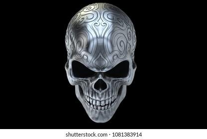 Angry old silver evil skull - 3D Illustration