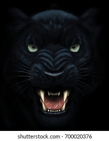 Angry panther face in darkness. Digital painting.