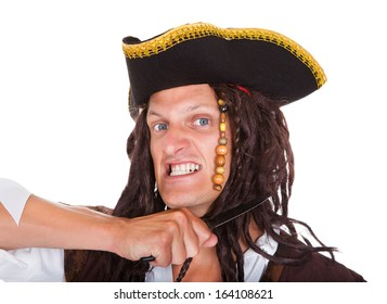 Angry Pirate Holding Knife On His Neck Over White Background