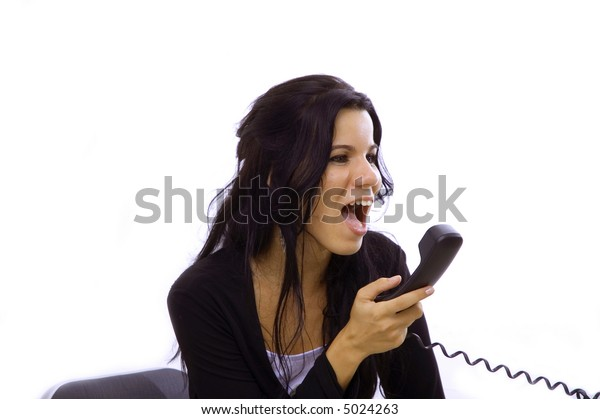 Angry receptionist woman yelling in the phone - isolated