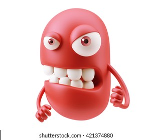 Angry Red Emoticon Face. 3d Rendering.