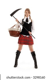 angry schoolgirl with black scythe over white
