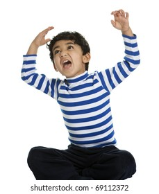 Angry and Screaming Child with Raised Arms, Isolated, White