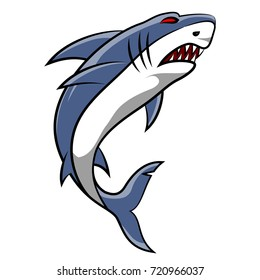 Angry shark cartoon on white background.