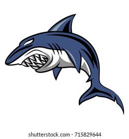 Angry shark mascot.