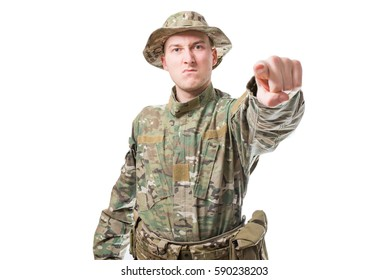 Angry soldier man pointing towards you