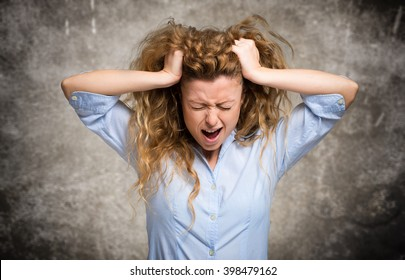Angry and stressed woman