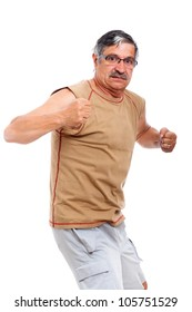 Angry strong senior man going to fight, isolated on white background.