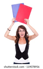 Angry student girl holding booklets over white background