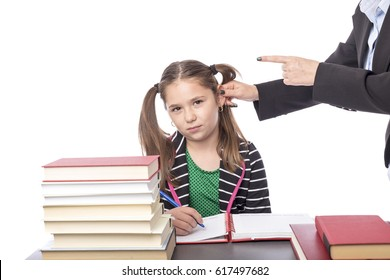 Angry teacher threatening her student isolated over white background