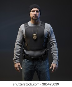Angry Undercover Law Enforcement Special Agent with weapon.
