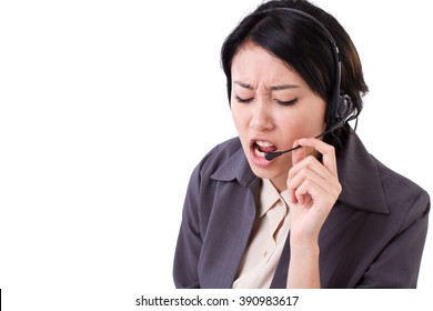 angry, upset business woman with headset