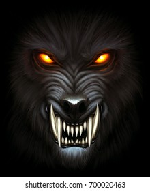 Angry werewolf face in darkness. Digital painting.