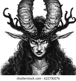 Angry wild woman with horns