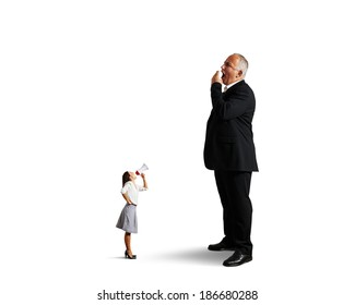 angry woman and big yawning man over white background