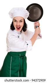 Angry woman chief threaten by pan isolated on white