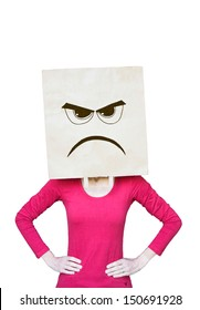 angry woman isolated on a white background