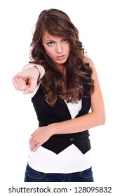 Angry woman pointing to camera, white background